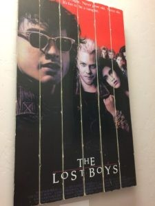 Movie poster for the Lost Boys, painted on 6 planks of wood.