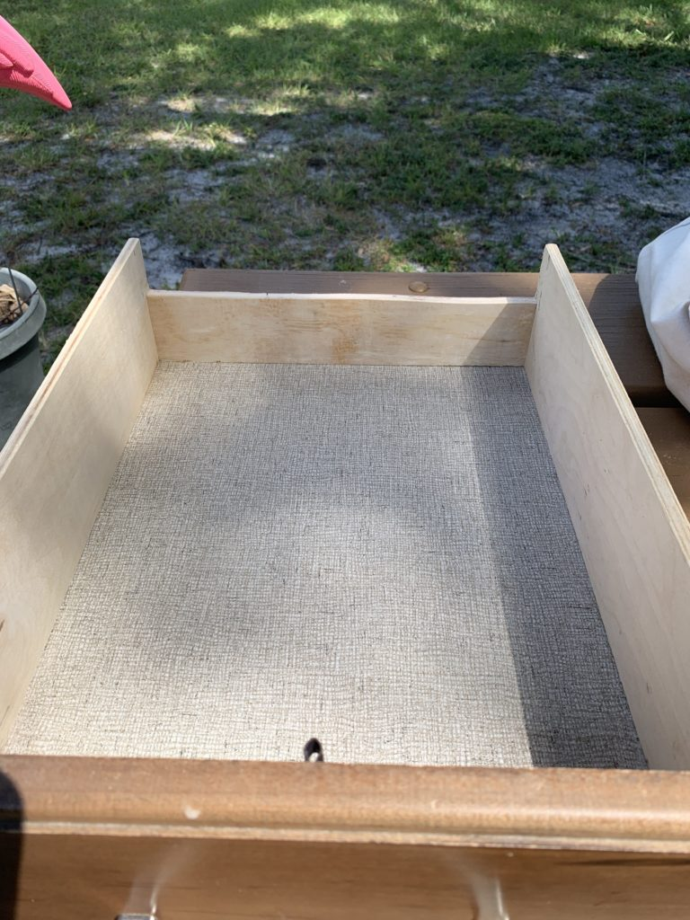 view of the drawer with the rear wall cut down
