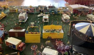 A miniature replica of a circus midway