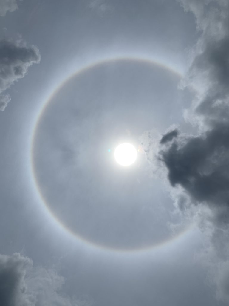 The sun directly overhead with a round rainbow circling it.