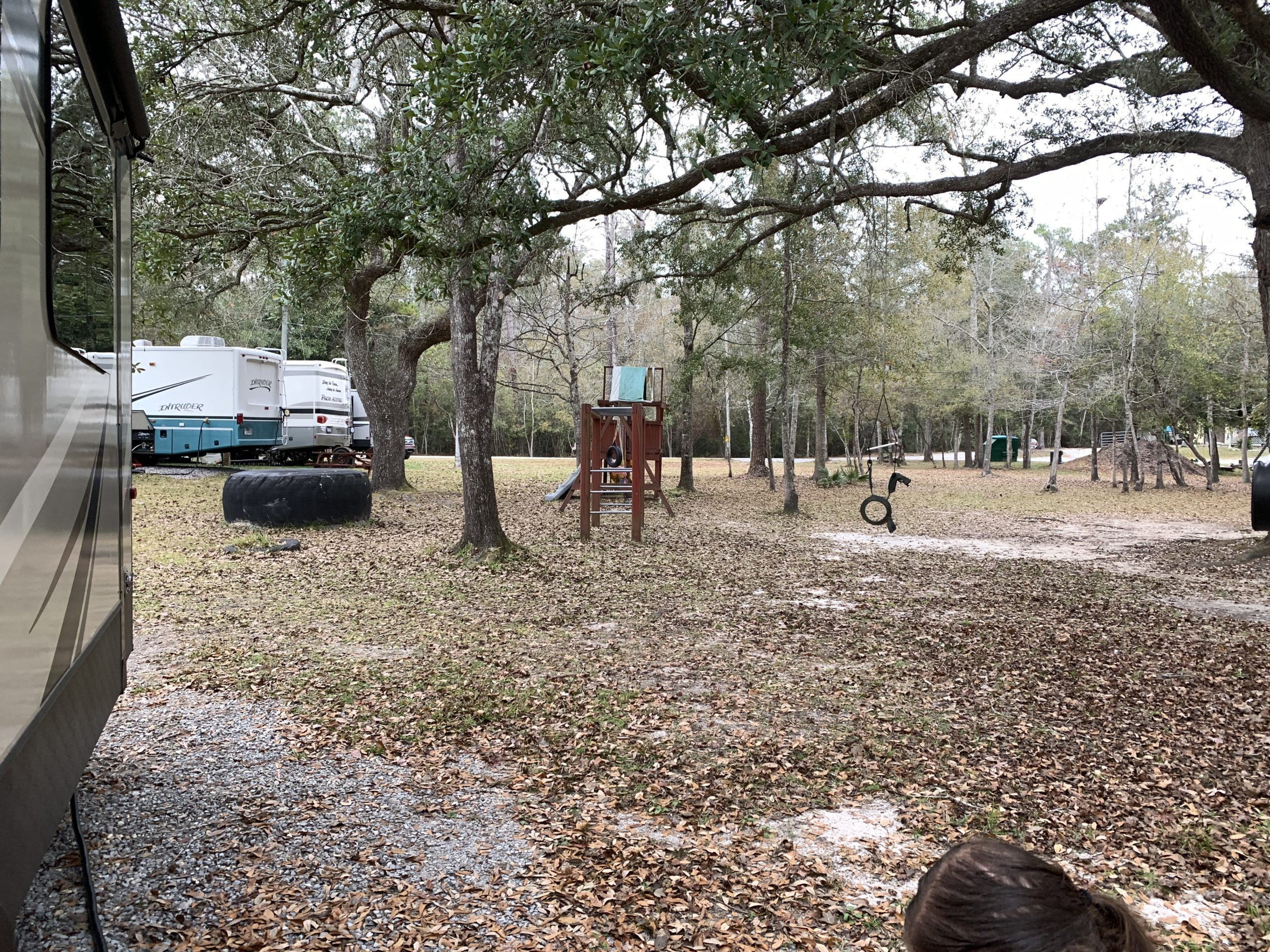 a playground surrounded by trees and a few rv's
