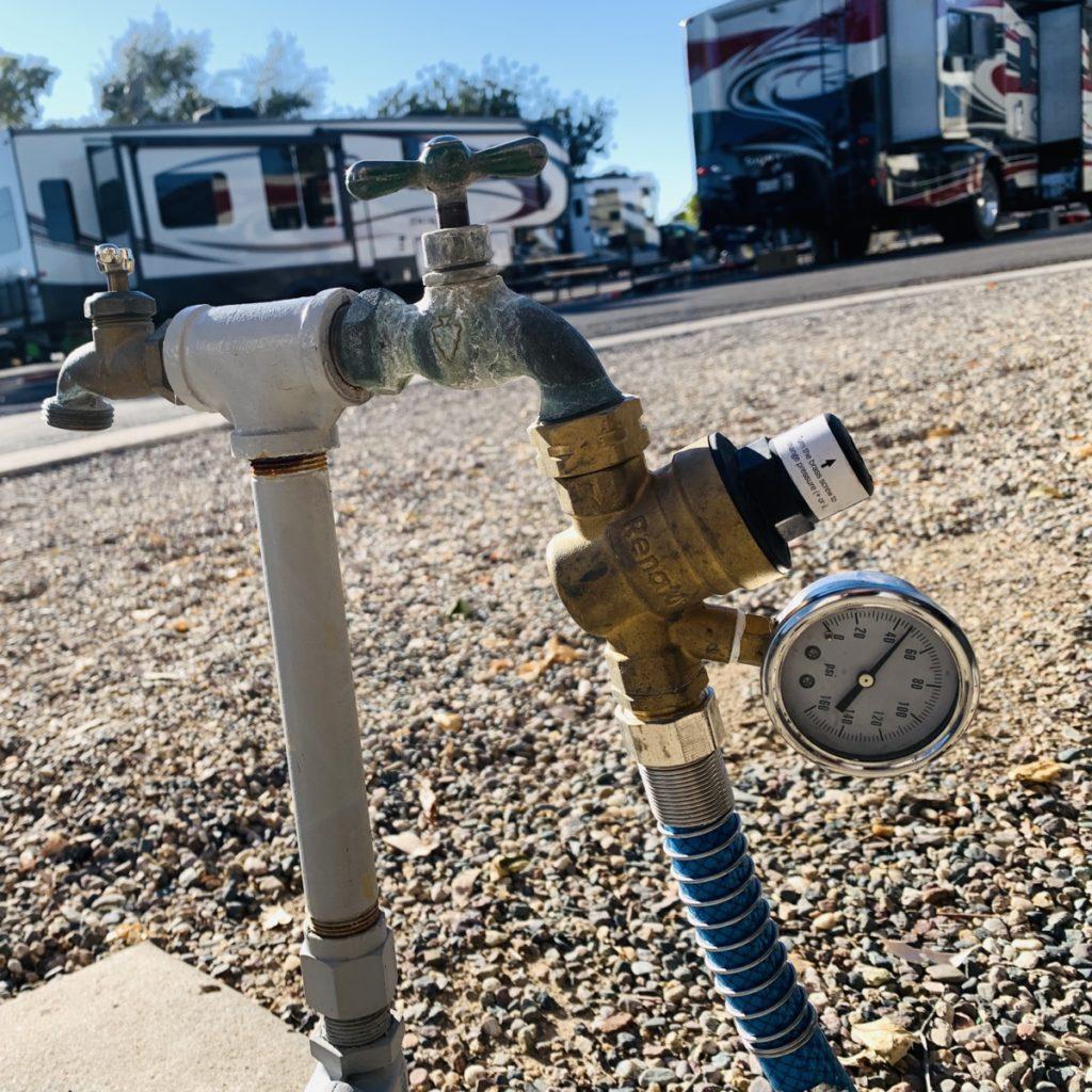 a water pressure regular on a spigot.