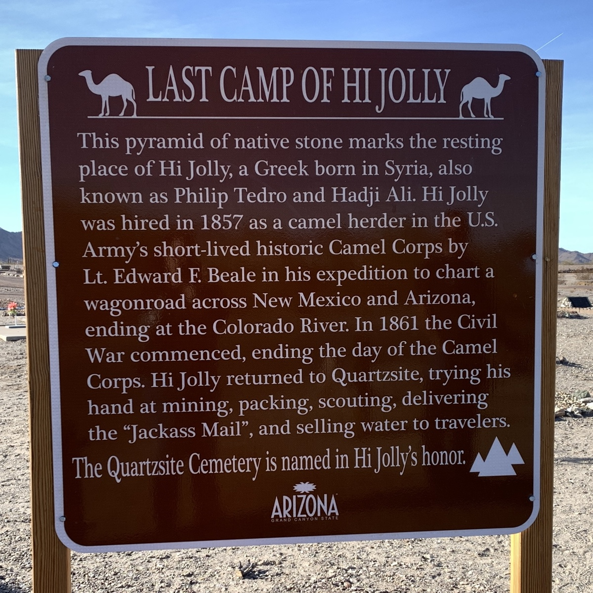 Sign about the last camp of Hi Jolly. It's described in the blog post