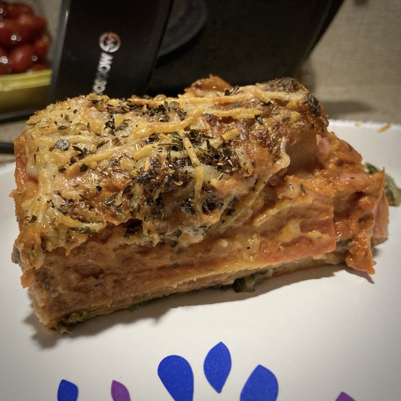 a slice of lasagna